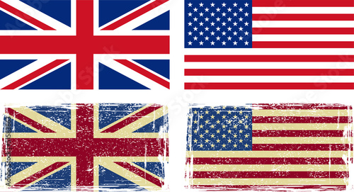 British and American flags. Vector illustration