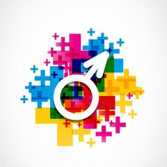 colorful male gender symbol