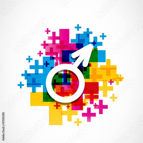 colorful male gender symbol
