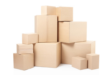 Cardboard boxes stack on white, clipping path