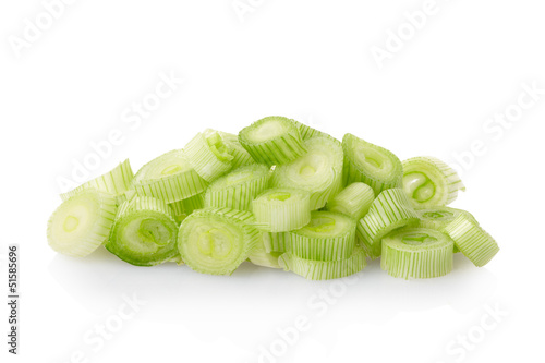 Fresh onion chopped heap on white, clipping path includ