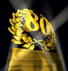 80 number laurel wreath
