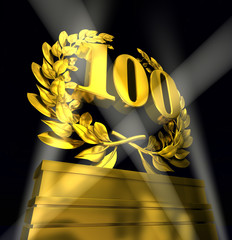 100 number laurel wreath