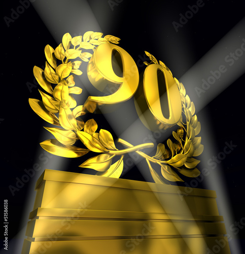 90 number laurel wreath