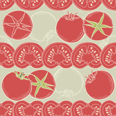 Seamless tomato background. Vector