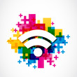 abstract colorful wifi illustration