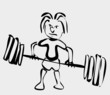 cartoon of weightlifter