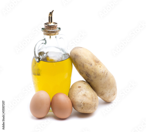 olive oil, potatoes and eggs