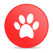animal footprint red circle web glossy icon