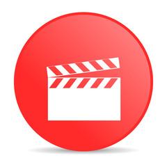 movie red circle web glossy icon