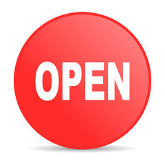 open red circle web glossy icon