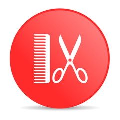 barber red circle web glossy icon