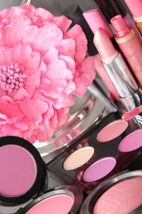 Cosmetics in a pink tone