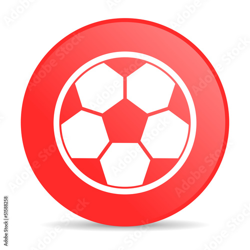 soccer red circle web glossy icon