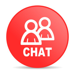 chat red circle web glossy icon