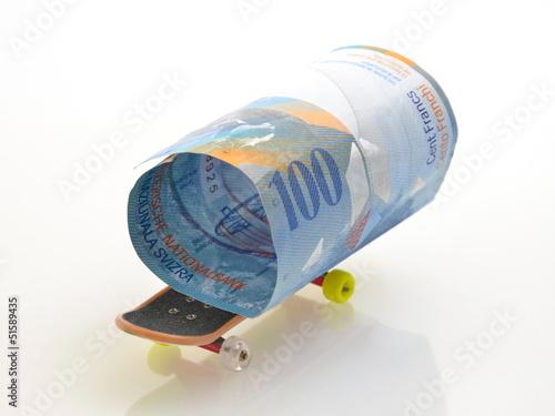 Skateboard und Schweizer Franken