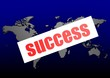 Success word on the blue world map