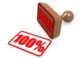 100 percernt word on wooden stamp