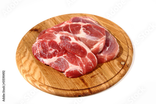 raw meat steak on the wooden board