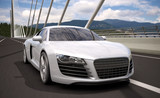luxury sport sedan car crossing bridge 3d rendering - 51591012