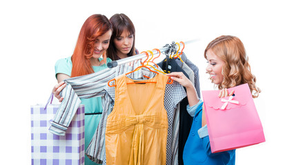 Girlfriends in clothes store, isolated on white. Shopping times