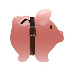 Saving pig coin bank on white isolated background