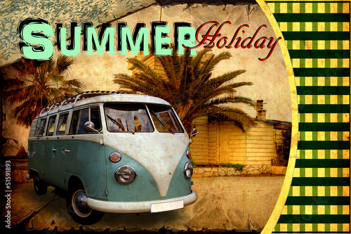 Papiers peints Affiche vintage Retroplakat - Summer Holiday Postcard