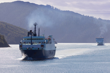 Two car ferries in Marlborough Sounds New Zealand