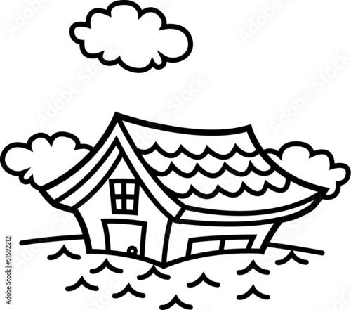 洪水!浸水する家 モノクロ