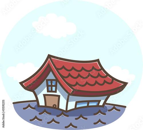 洪水!浸水する家