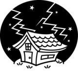落雷!雷が落ちた家 モノクロ