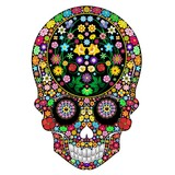 Skull Flowers Ornamental Art Design-Teschio Floreale