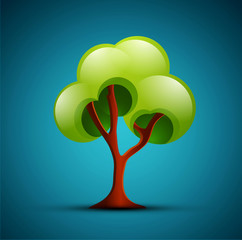 vector tree on a blue background (design element)