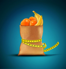 Vector pack with fruit with measuring tape