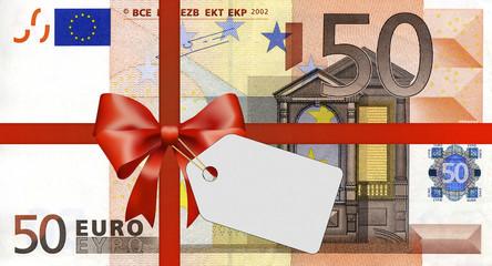 50 Euroschein mit Geschenkband und Label