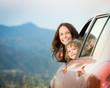 Leinwanddruck Bild - Family car trip