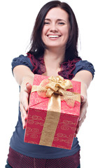 Cheerful women with a present