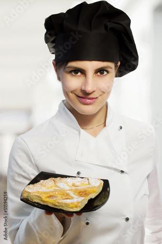female chef with lemon tart