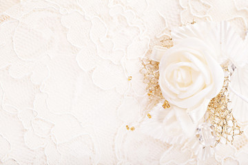 Wedding ornament. Satin golden flower