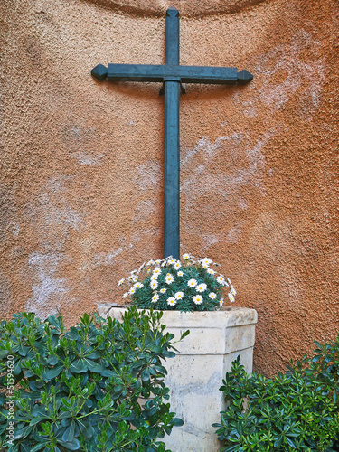 Altar with christian cross color image
