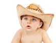 Cute child wearing cowboy hat