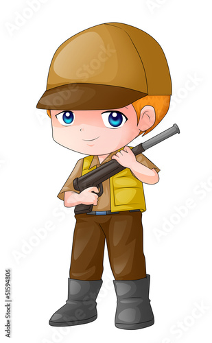 Cute cartoon illustration of a male figure holding a rifle