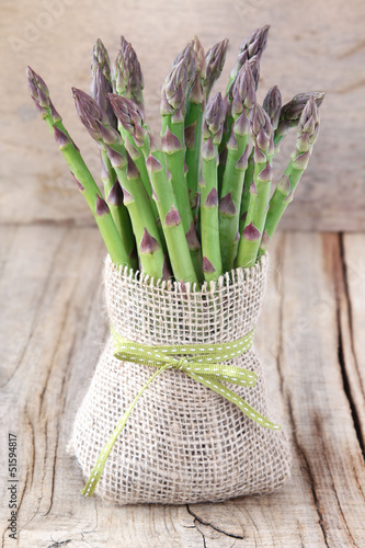 Bundle of purple asparagus