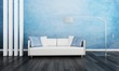 Modern Couch in Front of Blue Wall