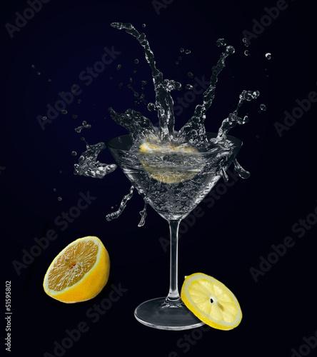 Lemon in martini glass.