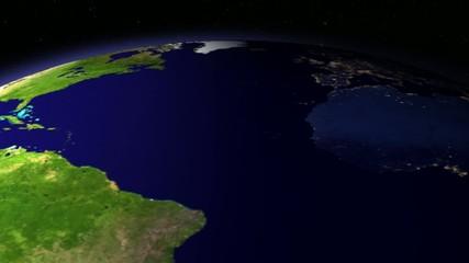 Detalle del día y noche de la Tierra girando