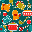 Colorful seamless pattern of kitchen utensil