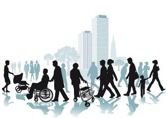 Spaziergänger in der Stadt