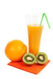 Glass of orange juice  and orange and kiw