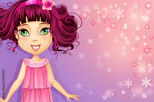Purple floral background with a young girl in a pink dress